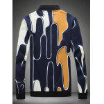 Stehen Abstract Printed Collar Zip Up Jacket - GELB