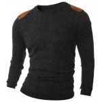 Shoulder Patch Design Round Neck Ribbed Sweater - SMOKY GRAY