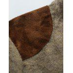 Shoulder Patch Design Round Neck Ribbed Sweater - BROWN