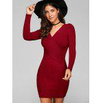 Long Sleeve V Neck Ribbed Sheath Dress - WINE RED