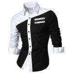 Long Sleeve Zipper Embellished Color Block Shirt deal