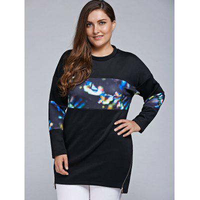 Plus Size Illusion Glow Printed Sweatshirt