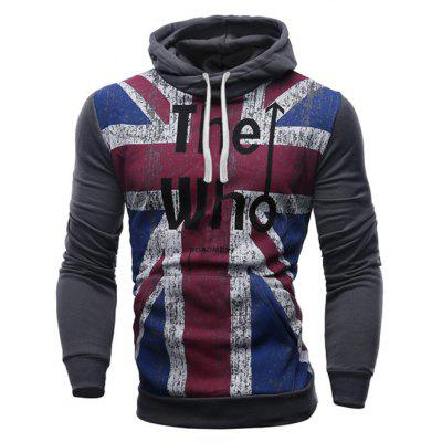 Slimming Hooded Union Jack Letters Print Color Rib Spliced Men's Long Sleeves Hoodie