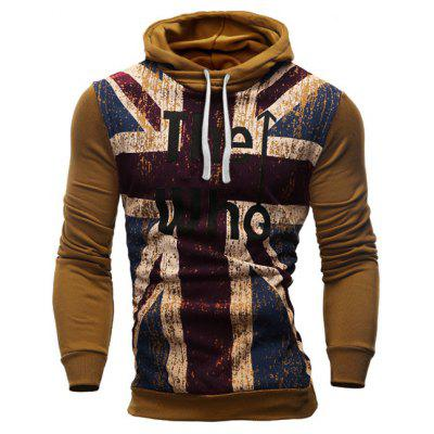 Buy Slimming Hooded Union Jack Letters Print Color Rib Spliced Men's Long Sleeves Hoodie CAMEL L for $17.20 in GearBest store
