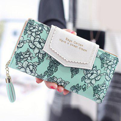 Flower Print Tassels Clutch Wallet