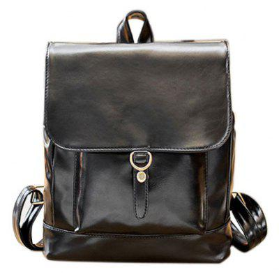 Magnetic Closure PU Leather Backpack