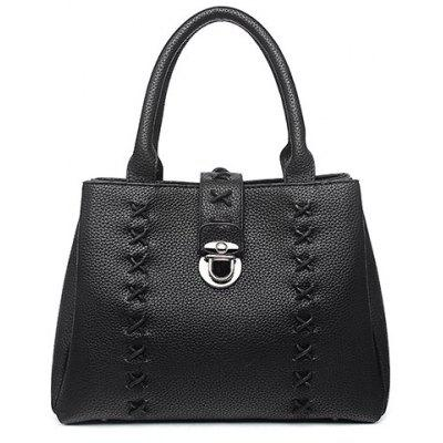 Metal Criss-Cross Textured Leather Tote Bag