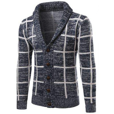 Buy CADETBLUE Shawl Collar Button Up Checked Cardigan for $17.75 in GearBest store