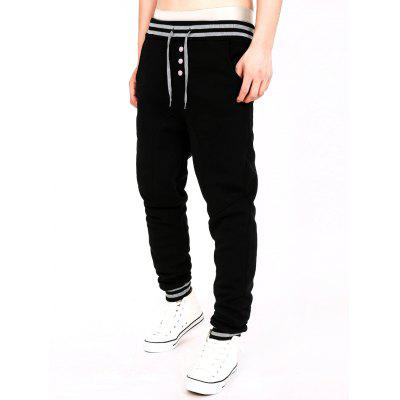 Two Tone Drawstring Cotton Jogger Pants