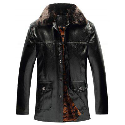 PU-Leather Fleece Winter Jacket