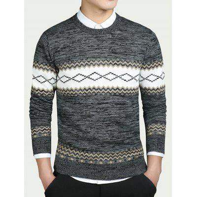Buy BLACK Geometric Pattern Round Neck Long Sleeve Sweater for $23.06 in GearBest store