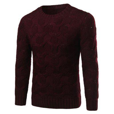 Buy WINE RED Crew Neck Geometric Kink Design Long Sleeve Sweater for $17.10 in GearBest store