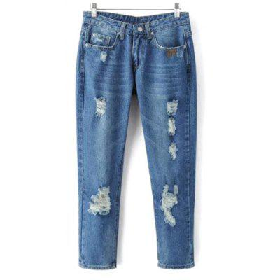 Bleach Wash Ripped Tapered Jeans