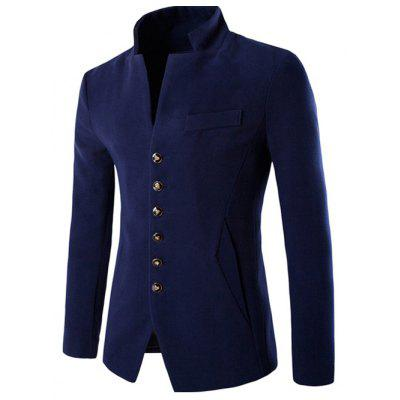 Stand Collar Single Breasted Wool Blend Blazer