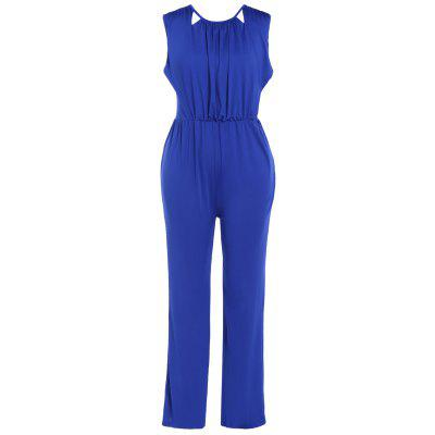 Backeless Ruched Sleeveless Jumpsuit