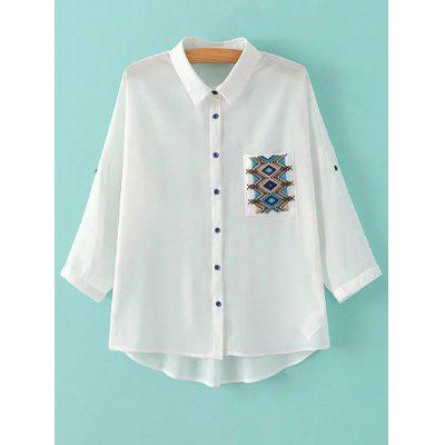 Bat-Wing Sleeve Embroidered Pocket Shirt