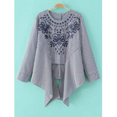 Striped Embroidered Asymmetric Blouse