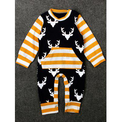 Striped Elk Print Kids Christmas Baby Romper