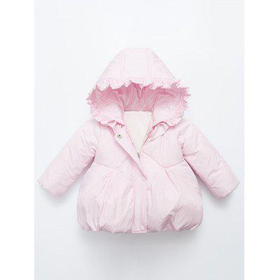 Baby Flounce ruches Hooded Padded Puffer Jacket