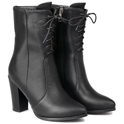 Zip Tie Up PU Leather Short Boots