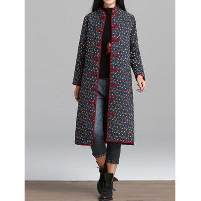 Quilted Floral Coat with Frog Buttons