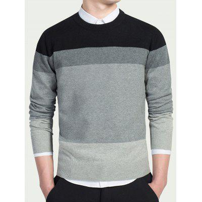 Buy BLACK M Striped Long Sleeves Crew Neck Knitwear for $9.22 in GearBest store