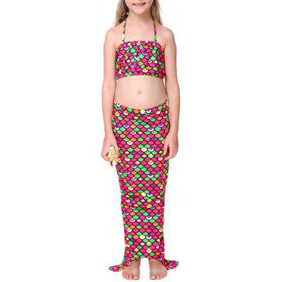 Girls 3PCS Mermaid Dress Bikini Set Swimwear
