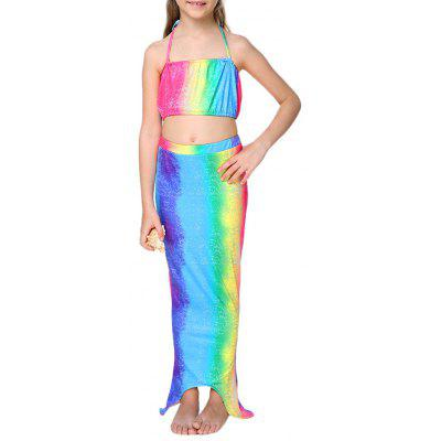 Girls 3PCS Rainbow Mermaid Dress Set Swimwear