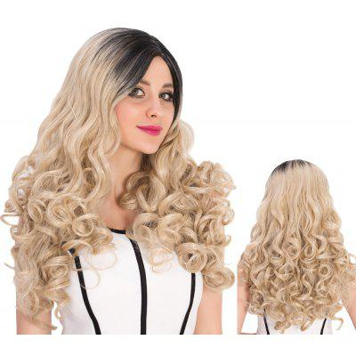 Long Colormix Side Parting Curly Synthetic Wig