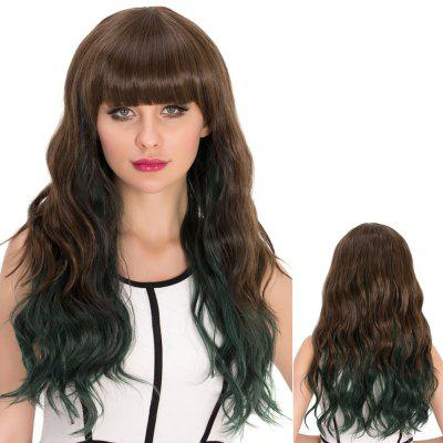 Long Wavy Neat Bang Ombre High Temperature Fiber Wig