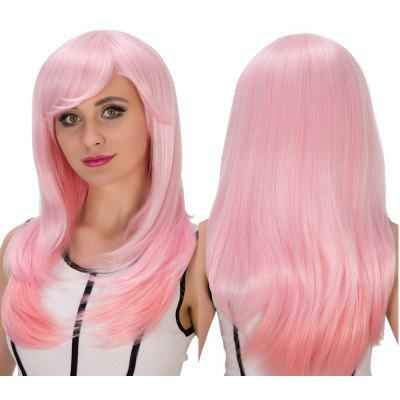 Long Side Bang Layered Tail Adduction Pink Gradient Cosplay Synthetic Wig