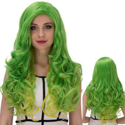 Gold Green Long Side Parting Wavy Cosplay Synthetic Wig