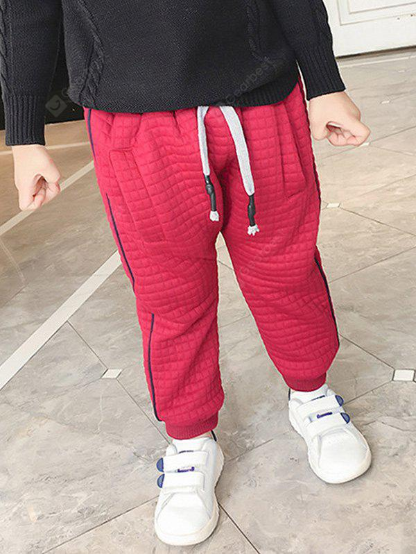 RED Casual Kids Drawstring Thicken Padded Pants