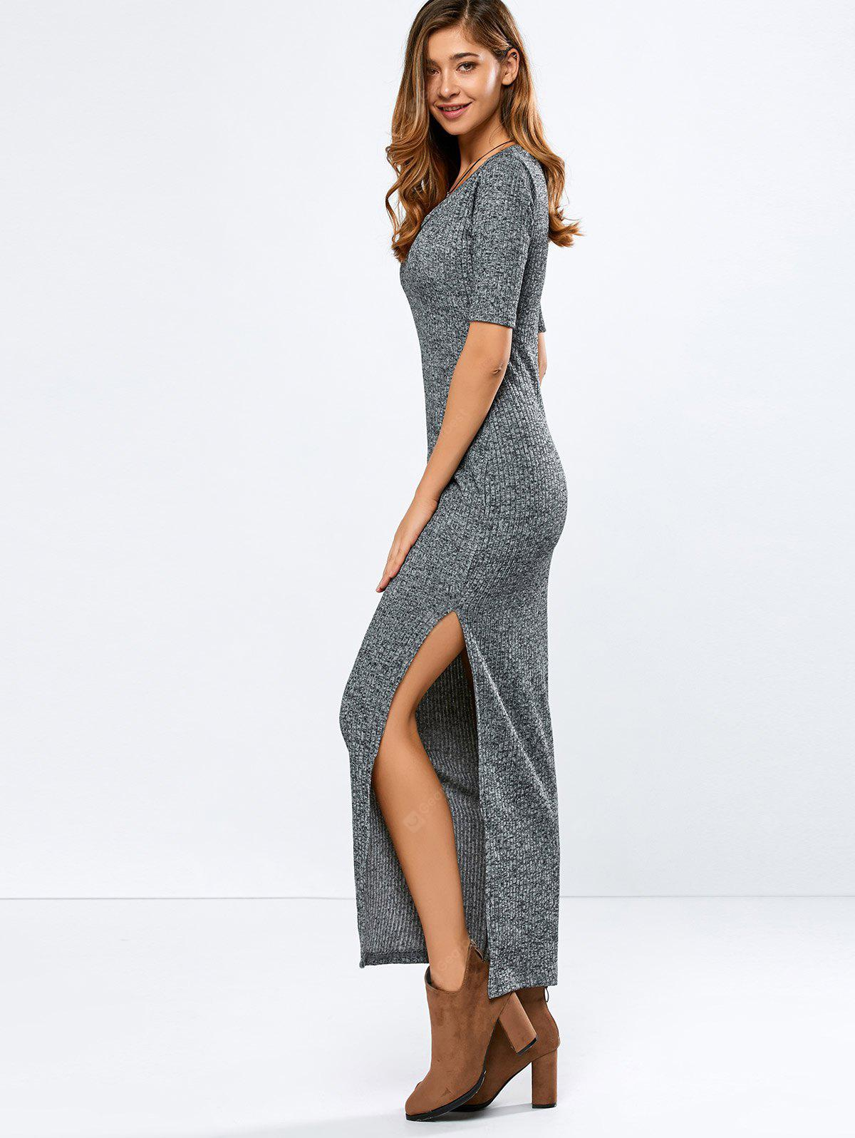 Elbow Sleeve Ribbed Sweater Maxi Dress