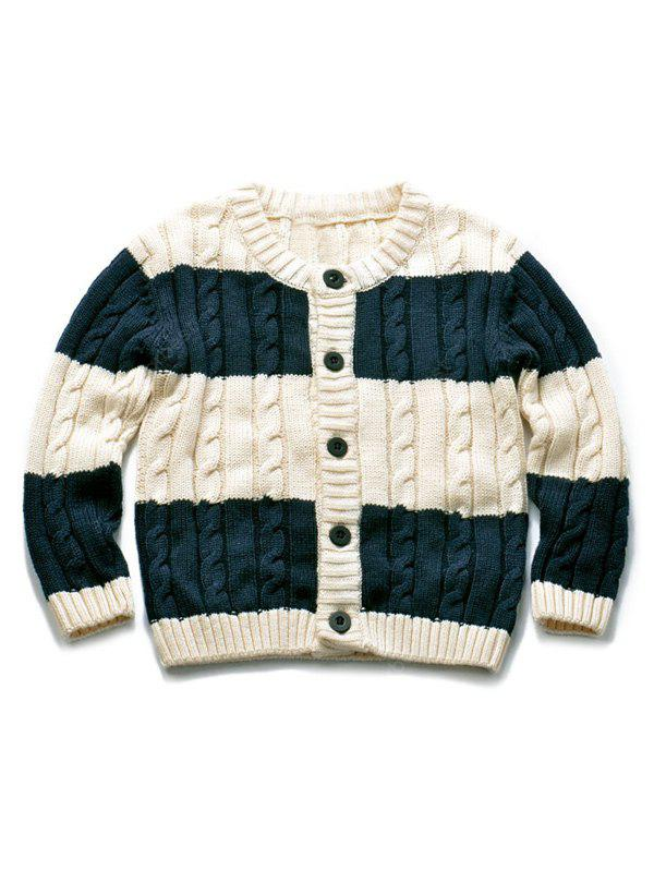 Buttoned Stripe Knitted Sweater Cardigan