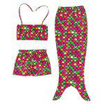 Girls 3PCS Mermaid Dress Bikini Set Swimwear - ROUGE