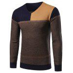 V-Ausschnitt Color Block Splicing Sweater - CADETBLUE