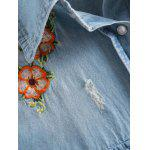 Long Sleeve Embroidered Ripped Denim Shirt - LIGHT BLUE