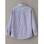 Floral Embroidered Striped Shirt - BLUE