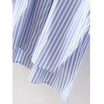 High-Low Embroidered Striped Shirt - BLUE