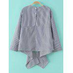 cheap Striped Embroidered Asymmetric Blouse
