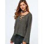 cheap V Neck Long Sleeve Lace Up Sweater