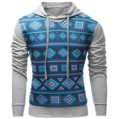 Buy GRAY Geometric Print Splicing Pullover Hoodie for $12.54 in GearBest store