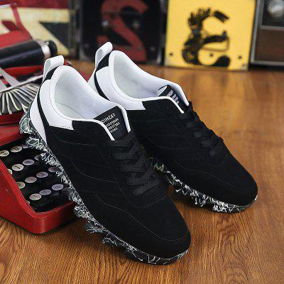 Buy WHITE AND BLACK Suede Colour Block Casual Shoes for $19.45 in GearBest store