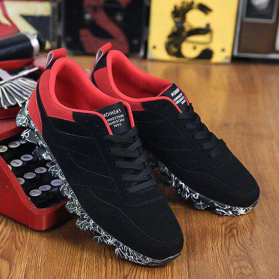 Buy RED WITH BLACK Suede Colour Block Casual Shoes for $20.83 in GearBest store