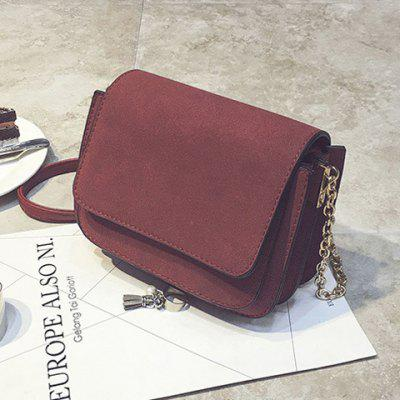 Chain PU Leather Covered Closure Crossbody Bag