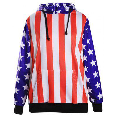Striped and Stars Loose Hoodie