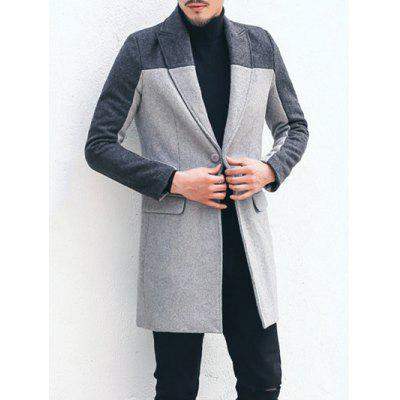 Lapel Color Block Wool Blend Wind Coat
