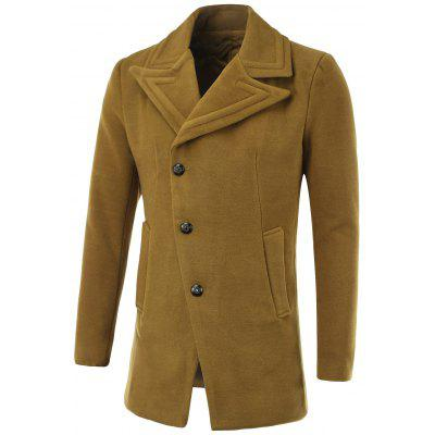 Geometric Turn-Down Collar Single-Breasted Wool Coat