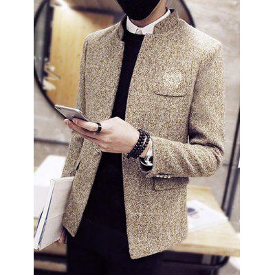 Pocket Embroidery Stand Collar Wool Coat